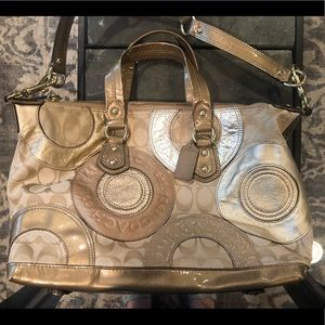 Authentic Coach tote - brown, taupe, silver